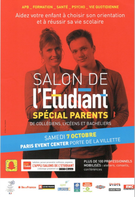 Salon de l 39 etudiant special parents samedi 7 octobre porte for Salon porte de la villette